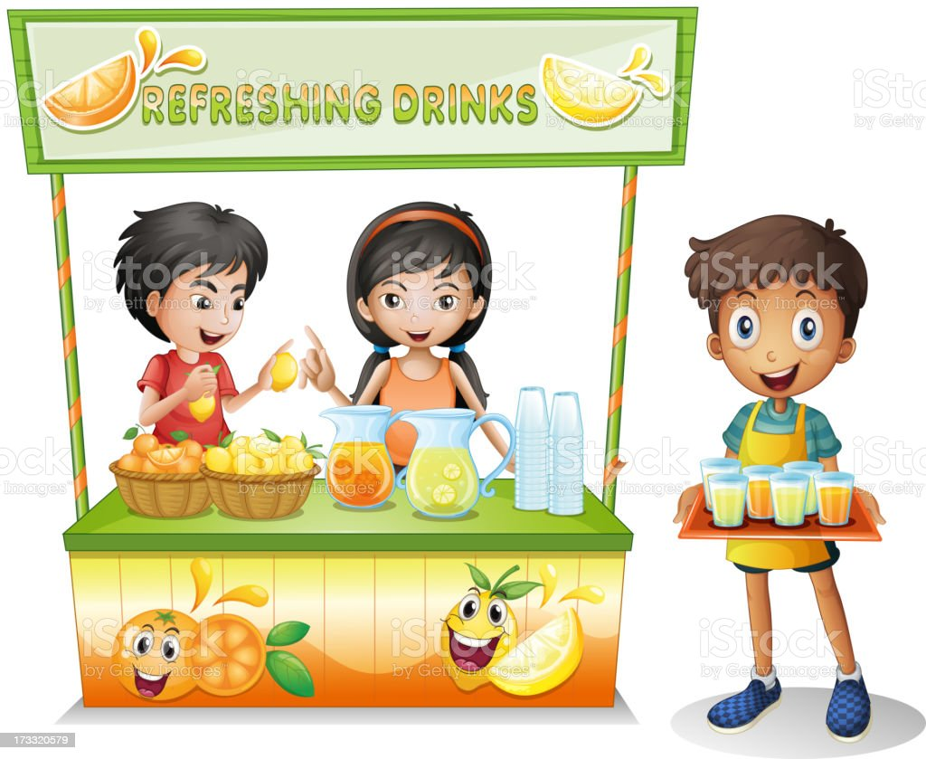 Three kids selling refreshing drinks royalty-free stock vector art