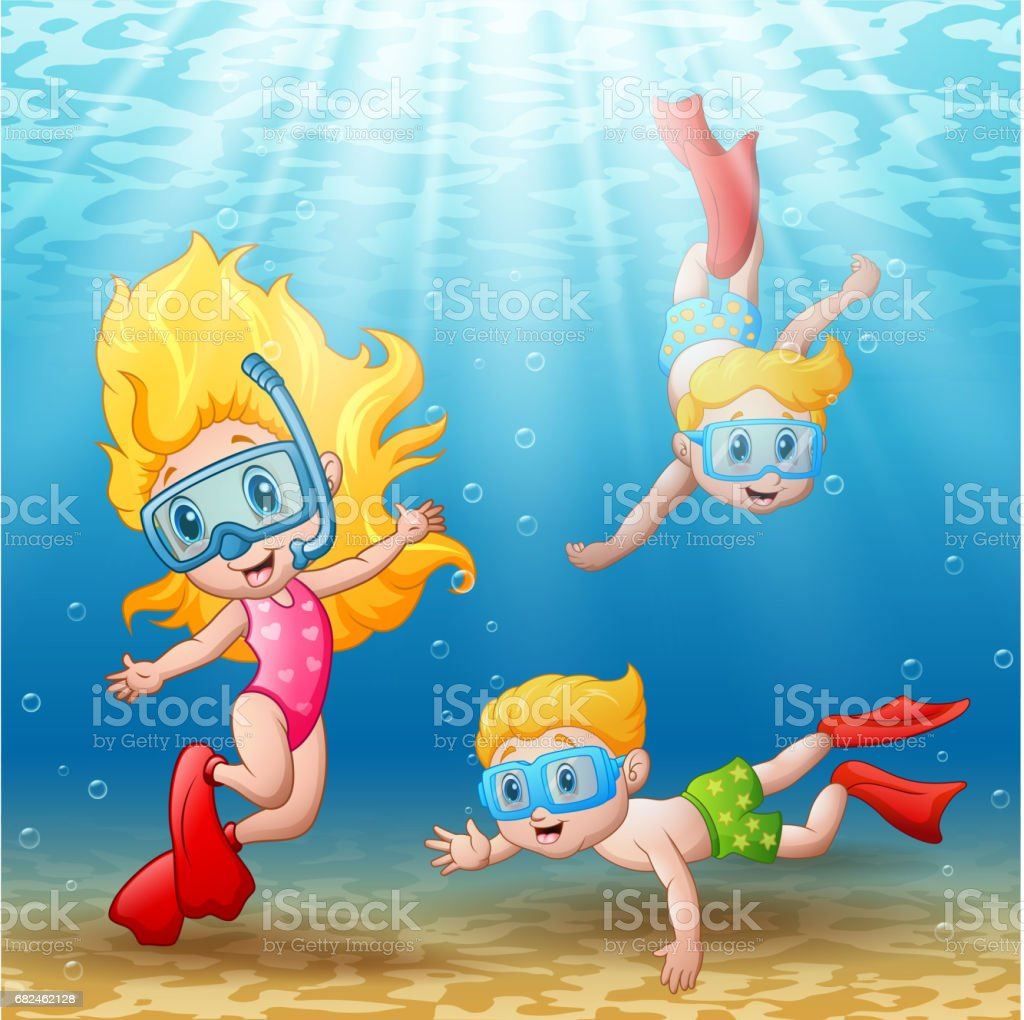 Three kids swimming and diving underwater vector art illustration