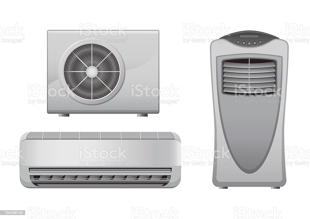Three kinds of air conditioners royalty-free stock vector art