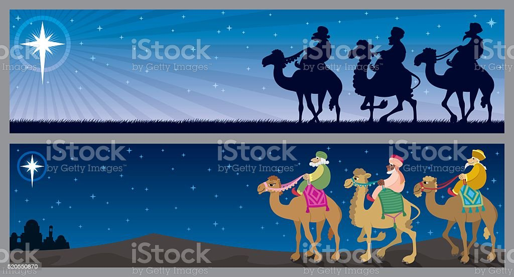 Three Kings Landscapes vector art illustration