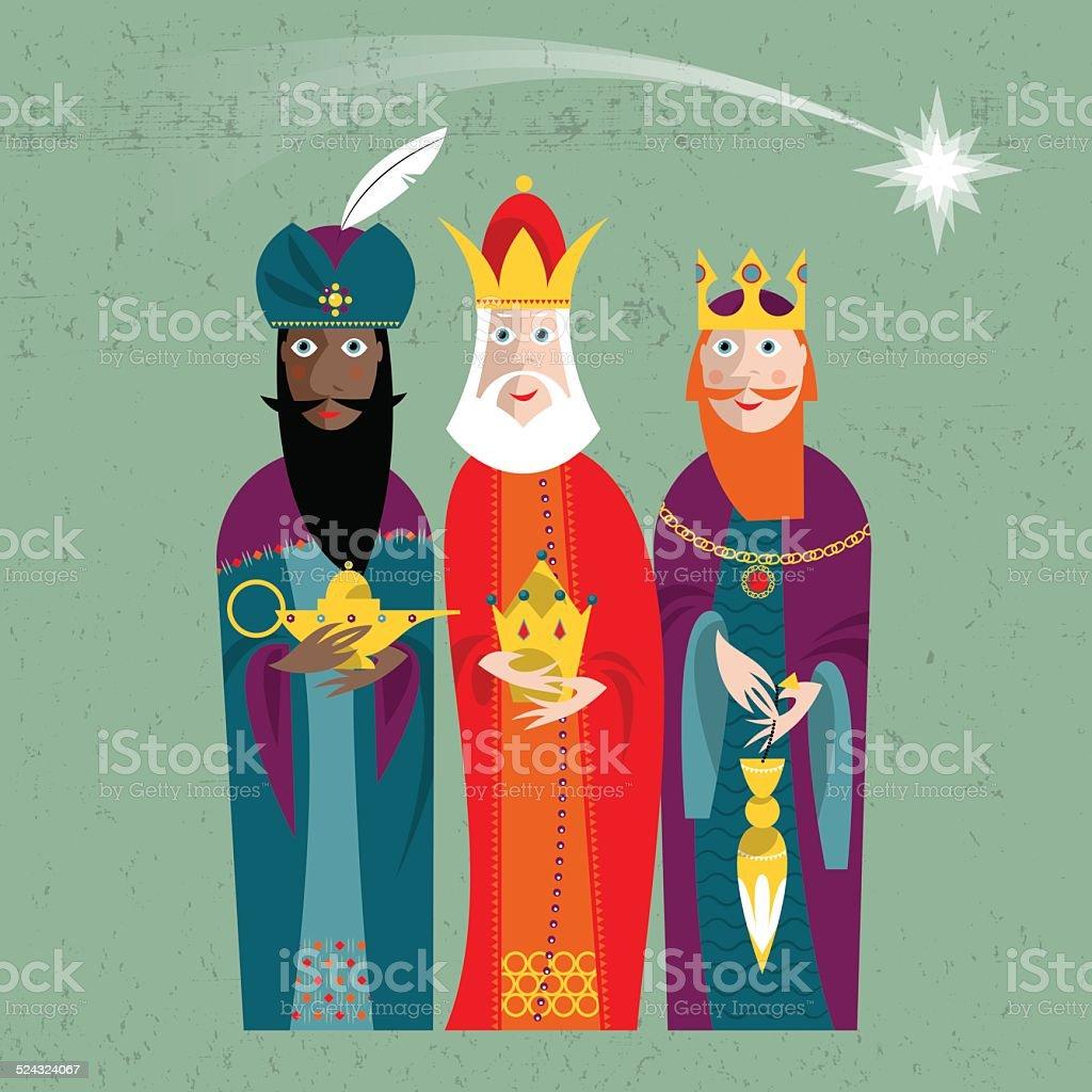 Three Kings. Three wise men. vector art illustration