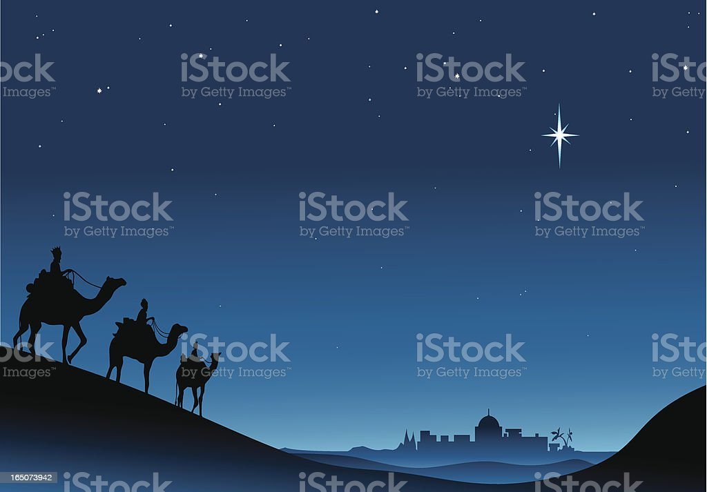 three kings vector art illustration