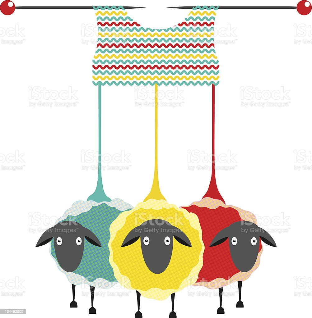 Three Knitting Yarn Sheep vector art illustration