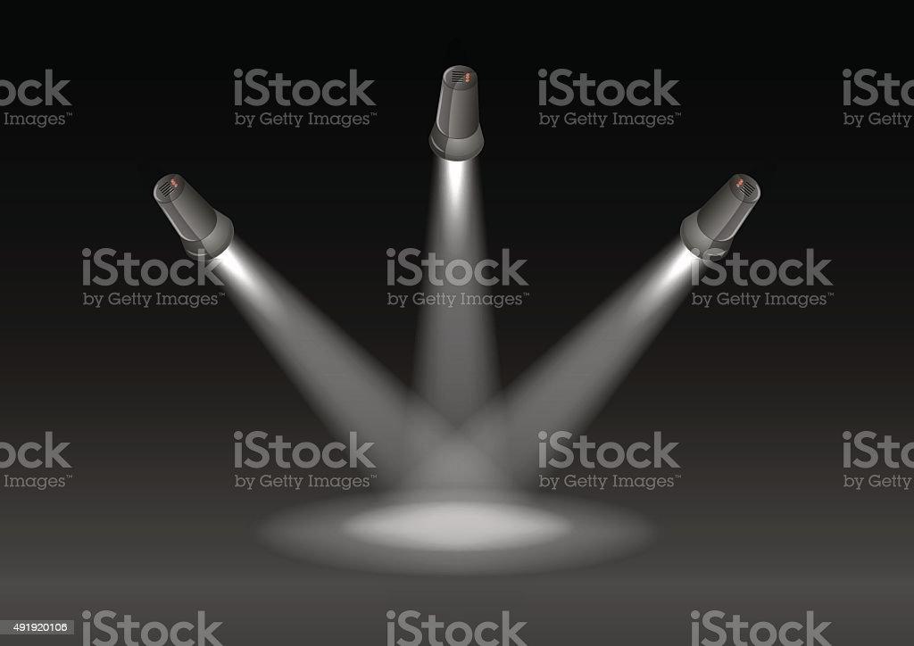 three lights and black background vector art illustration