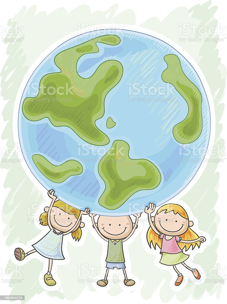 Three little kids are protecting the world royalty-free stock vector art