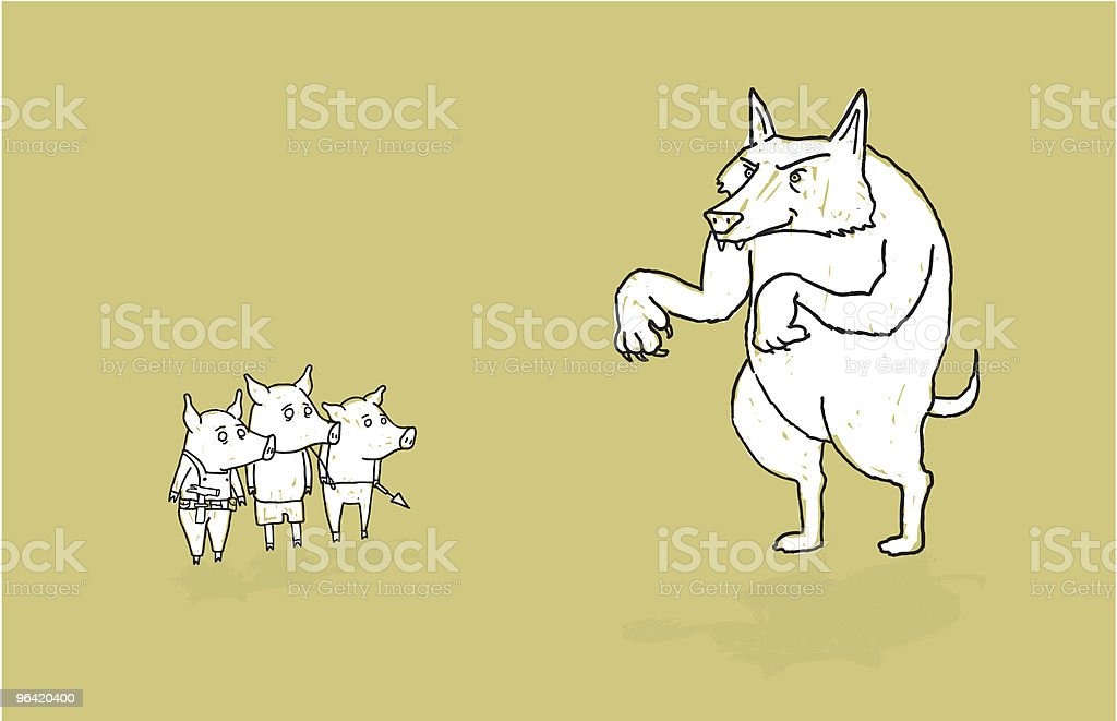 Three Little Pigs and the Big Bad Wolf. royalty-free stock vector art
