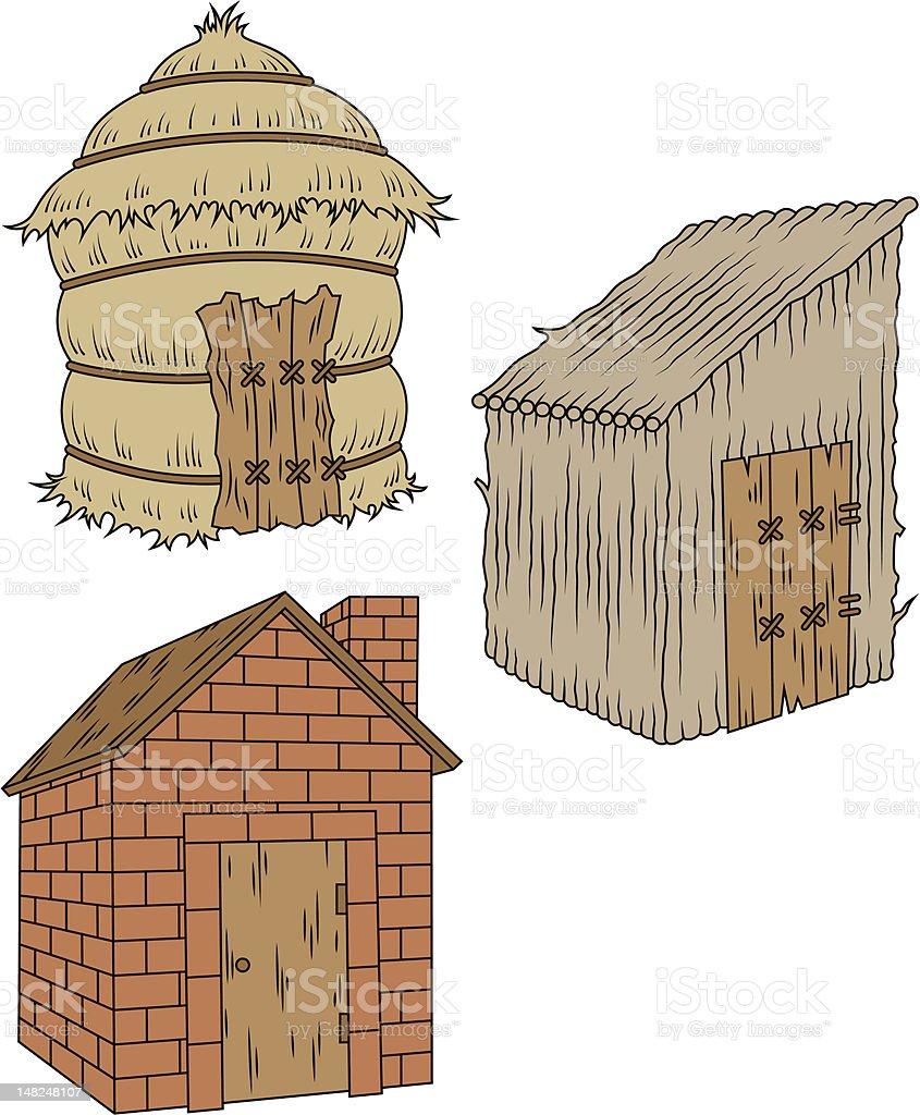 Three Little Pigs' Houses vector art illustration
