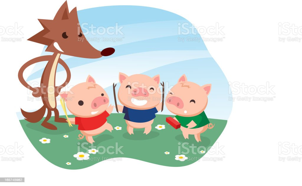 Three little pigs vector art illustration