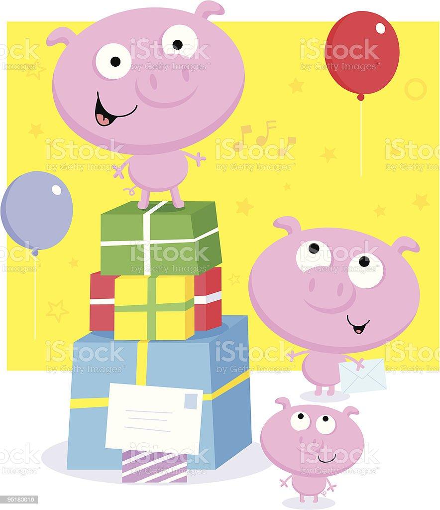 Three little Pigs royalty-free stock vector art