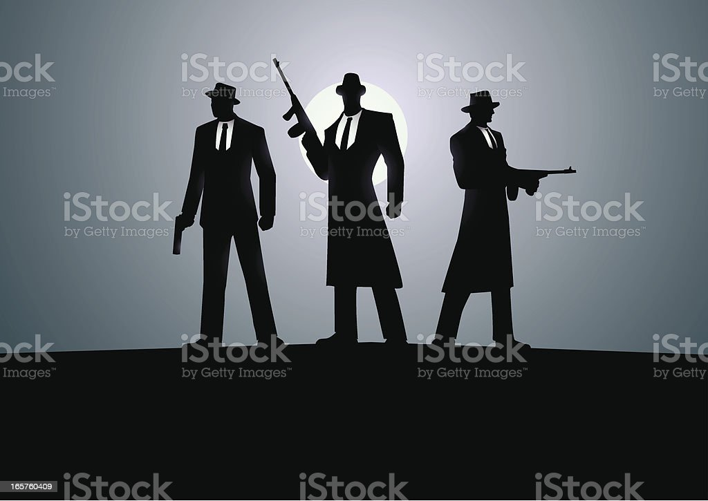 Three Mafias vector art illustration