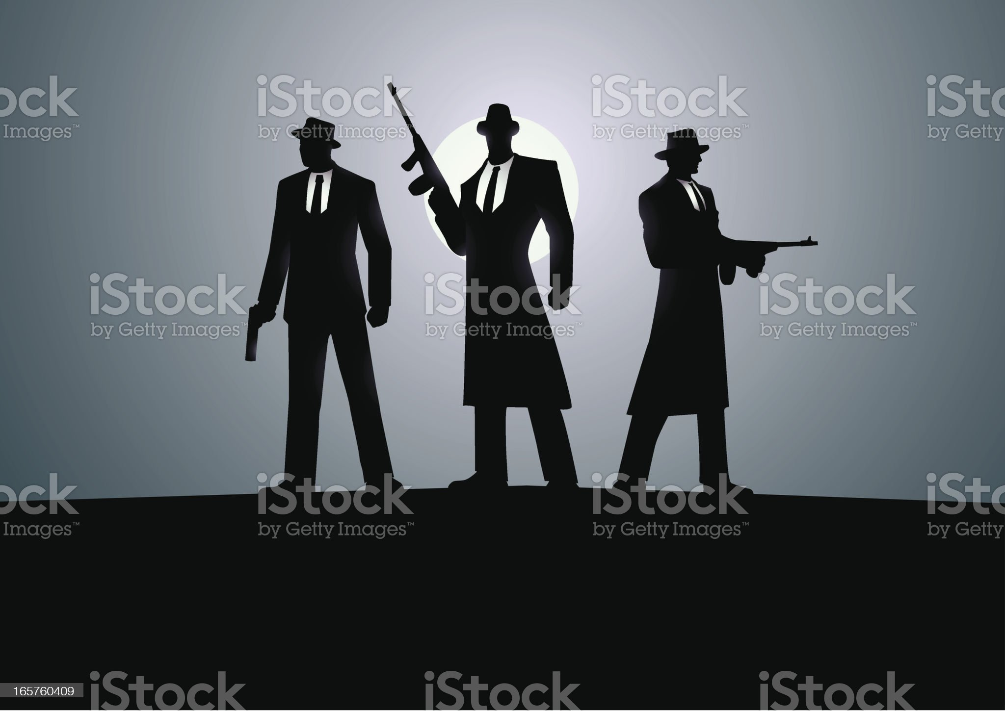 Three Mafias royalty-free stock vector art