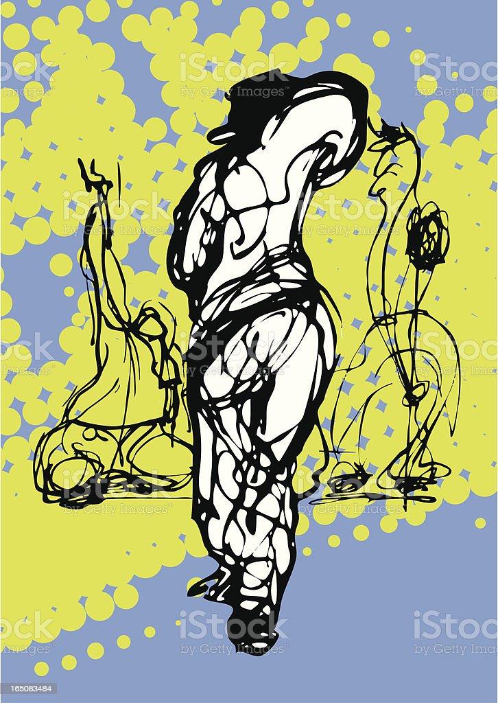 Three Male Urban Dancers royalty-free stock vector art