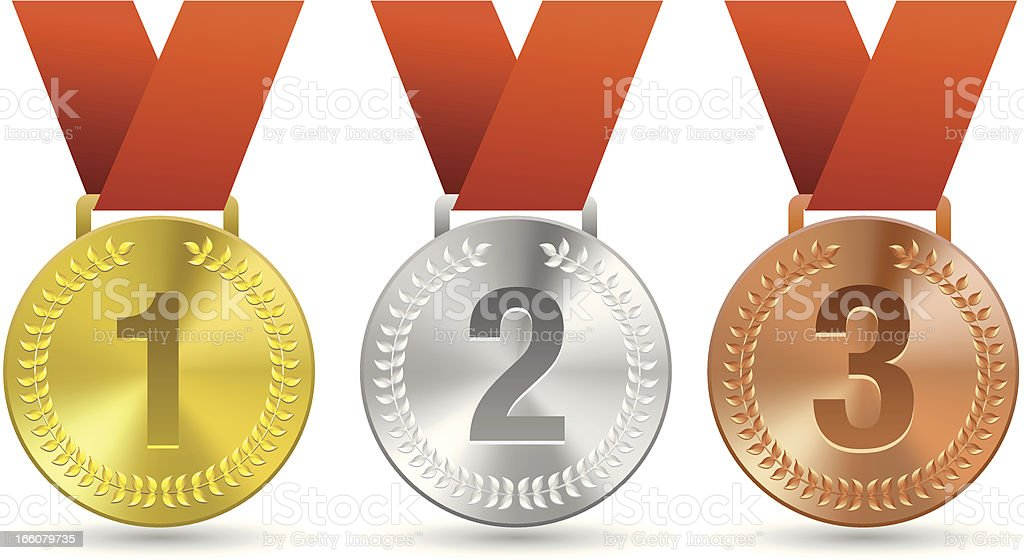 three medals for sports vector art illustration