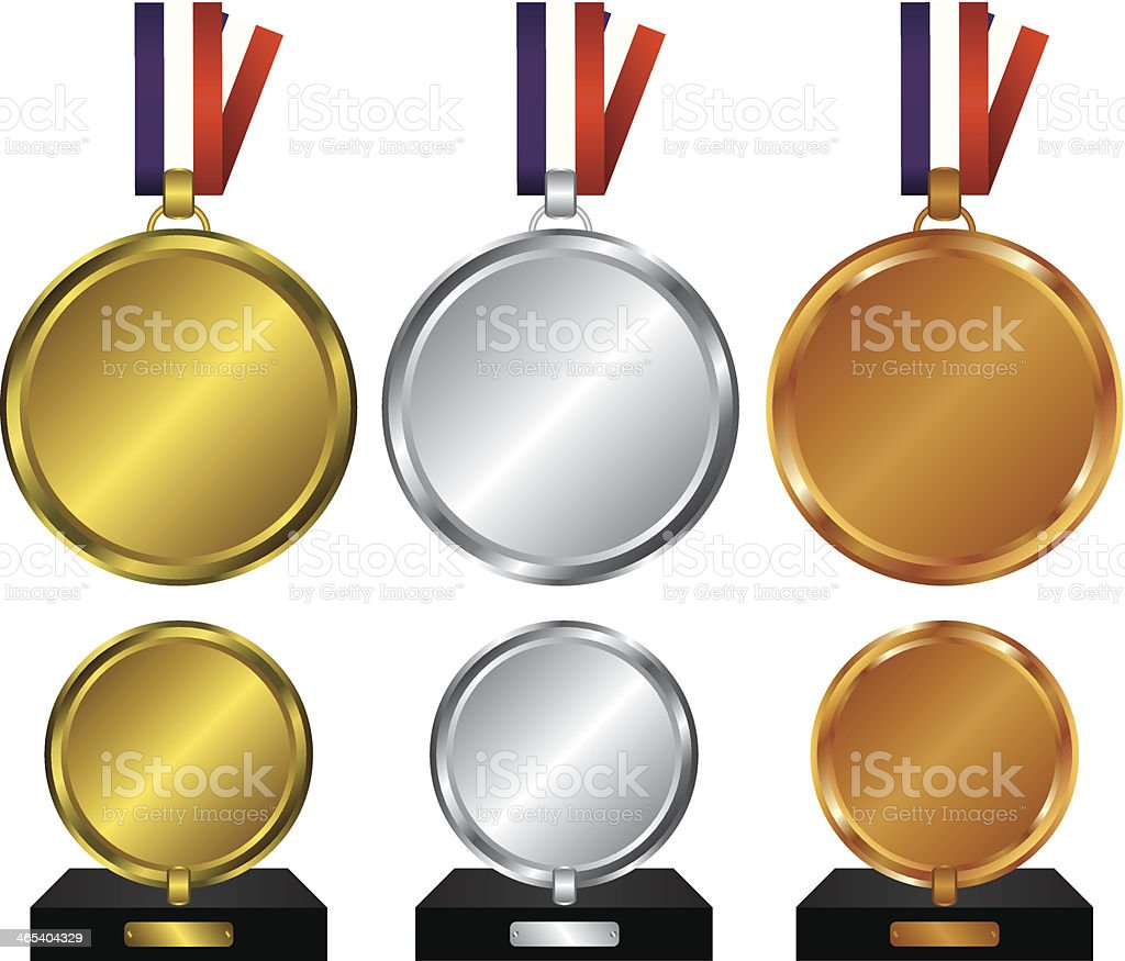 Three medals for the winners vector art illustration