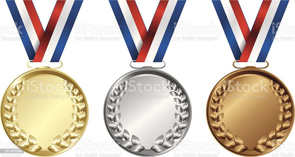 Three medals, Gold, Silver and bronze for the winners royalty-free stock vector art