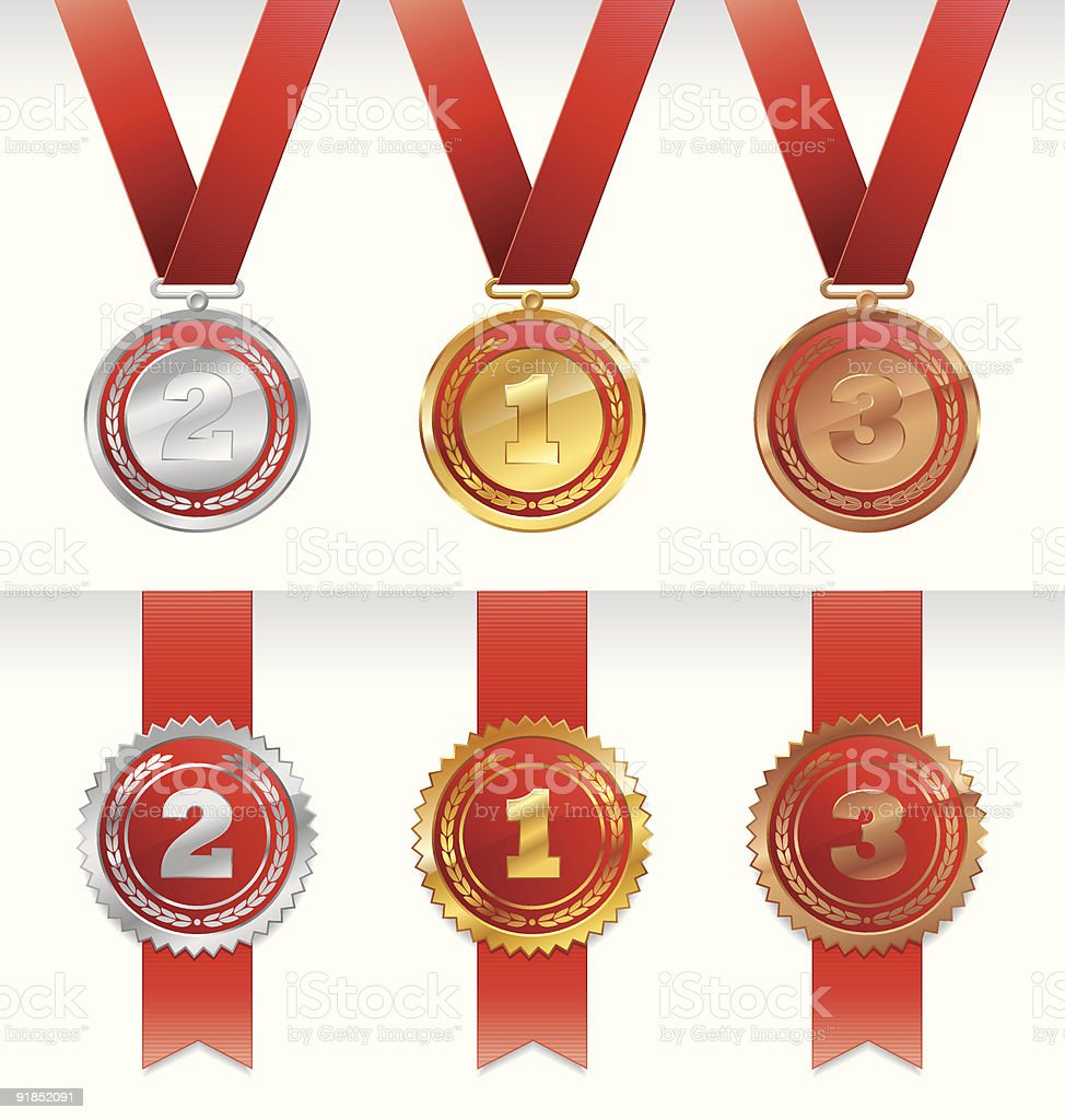 Three medals - gold, silver and bronze vector art illustration