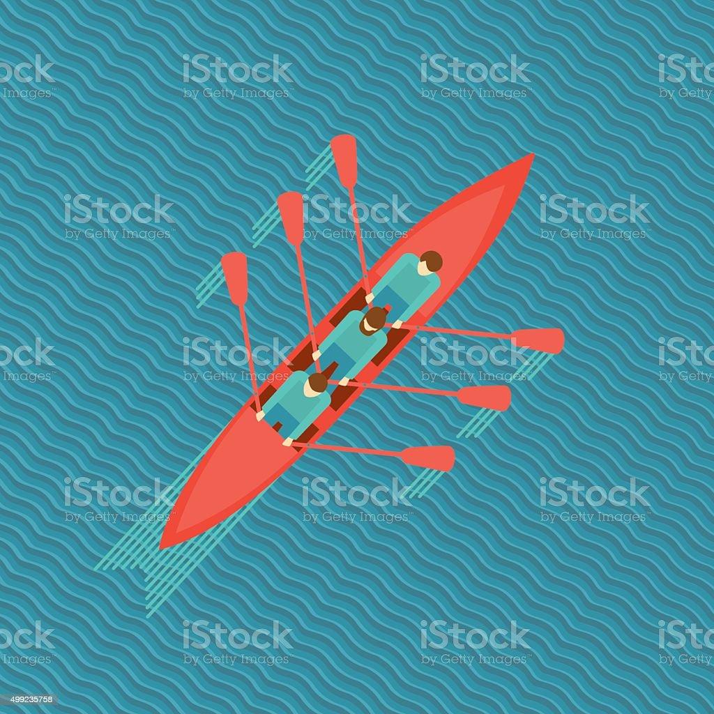 Three men in a boat. vector art illustration