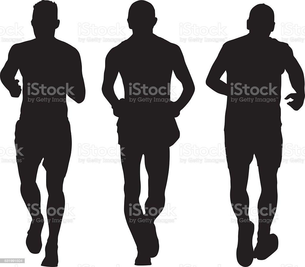 Three Men Running vector art illustration