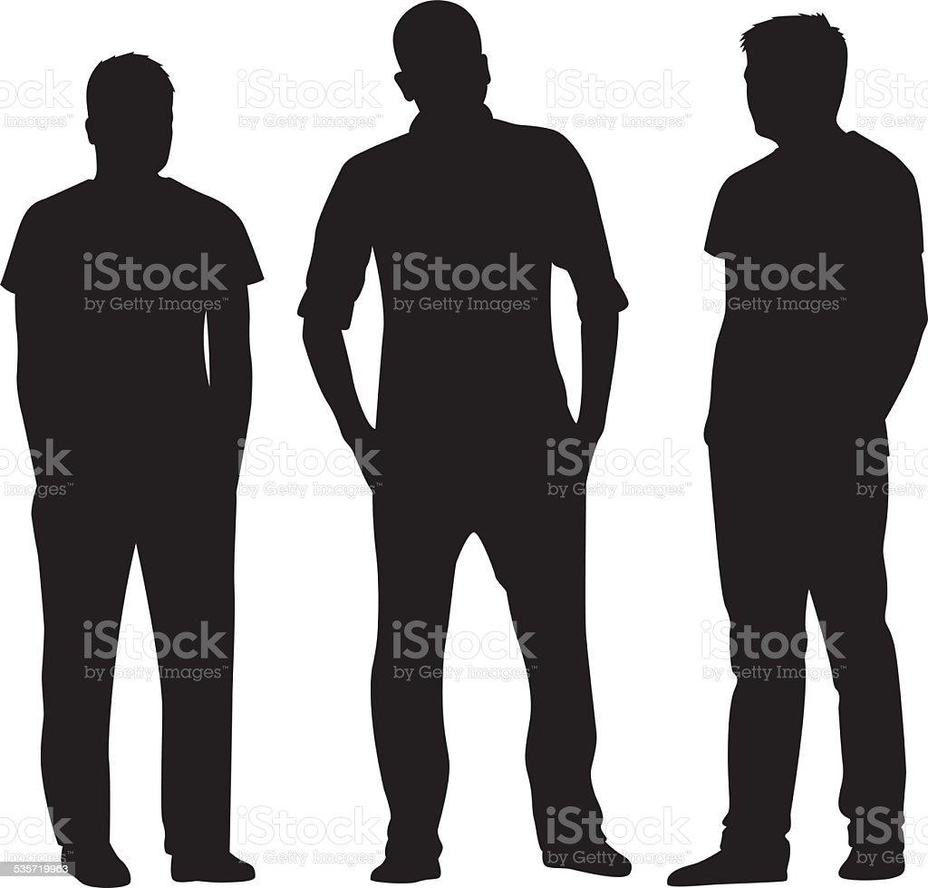 Three Men Standing Silhouettes vector art illustration