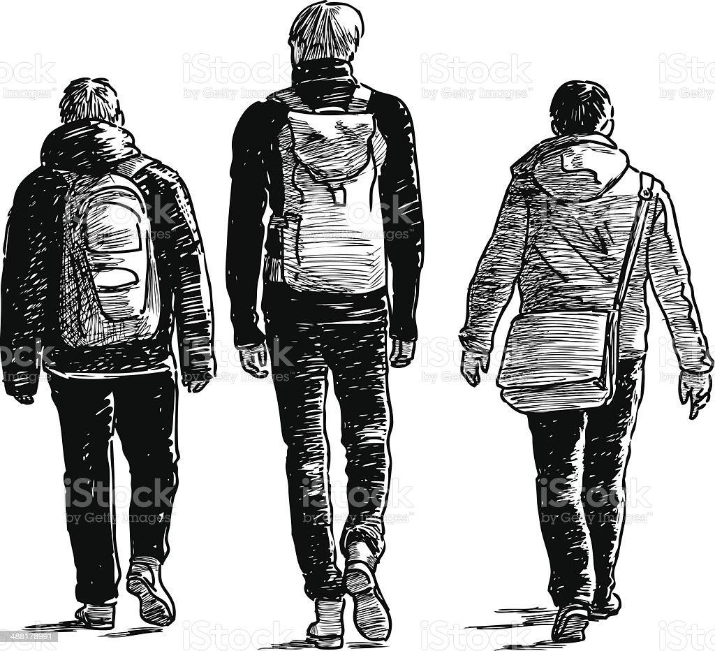 three men royalty-free stock vector art