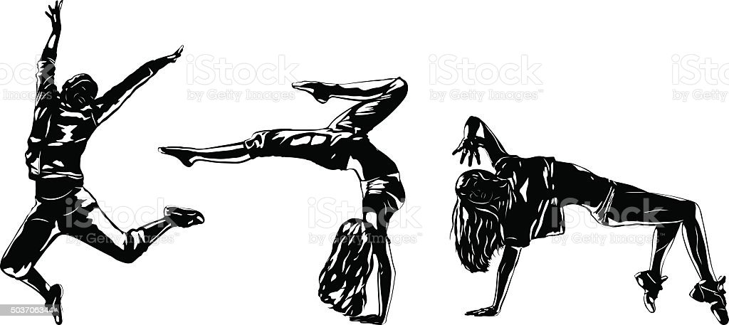 Three modern dancers silhouettes vector art illustration