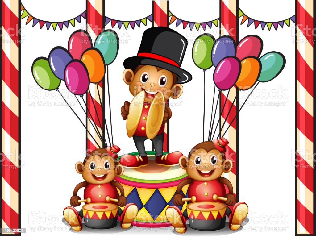 Three monkeys at the carnival royalty-free stock vector art