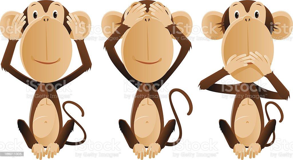 Three monkeys royalty-free stock vector art