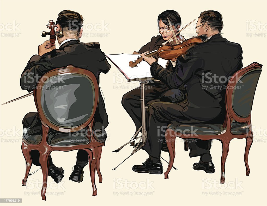 Three musicians of classic orchestra royalty-free stock vector art