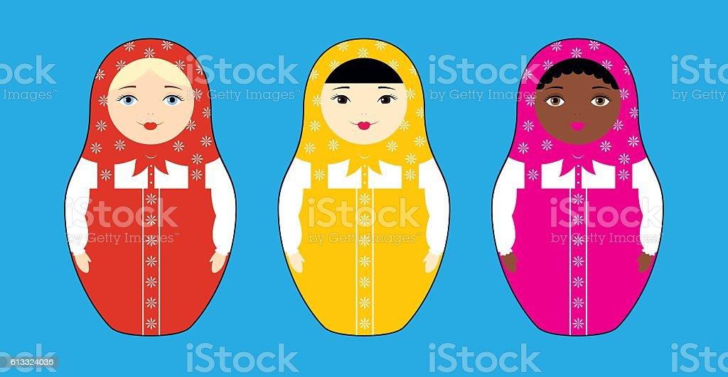Three nesting dolls races vector art illustration
