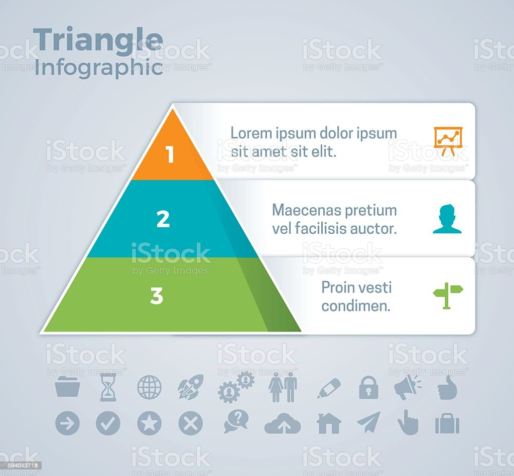 Three Option Triangle Infographic vector art illustration