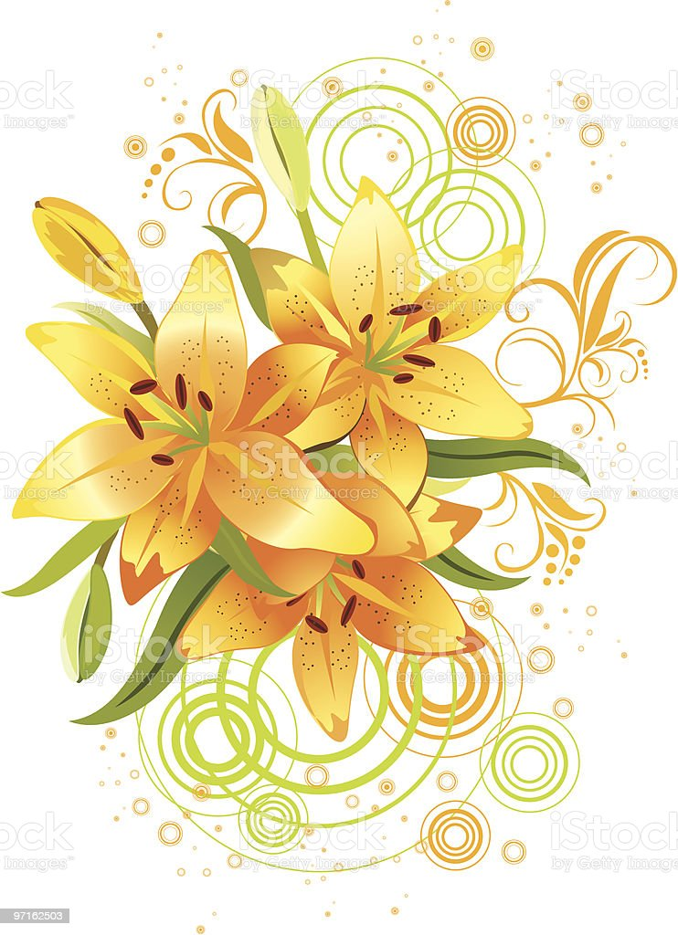 Three orange lily, vector grunge floral background royalty-free stock vector art
