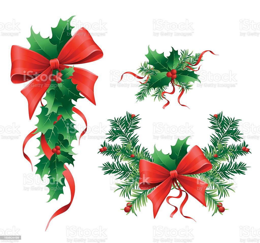 Three ornaments of holly with red bows royalty-free stock vector art