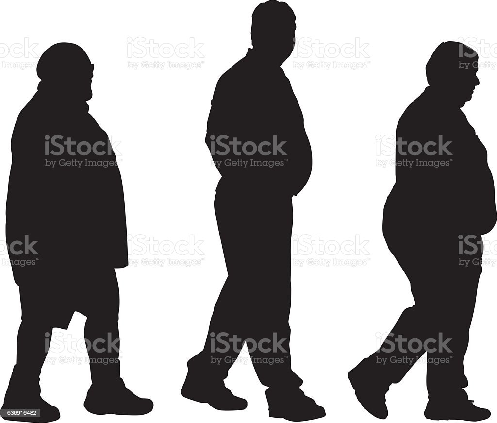 Three Overweight Men Walking vector art illustration