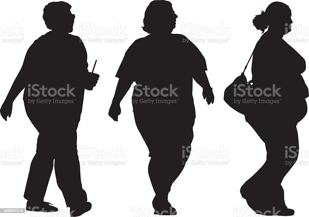 Three Overweight Women Walking Silhouettes vector art illustration
