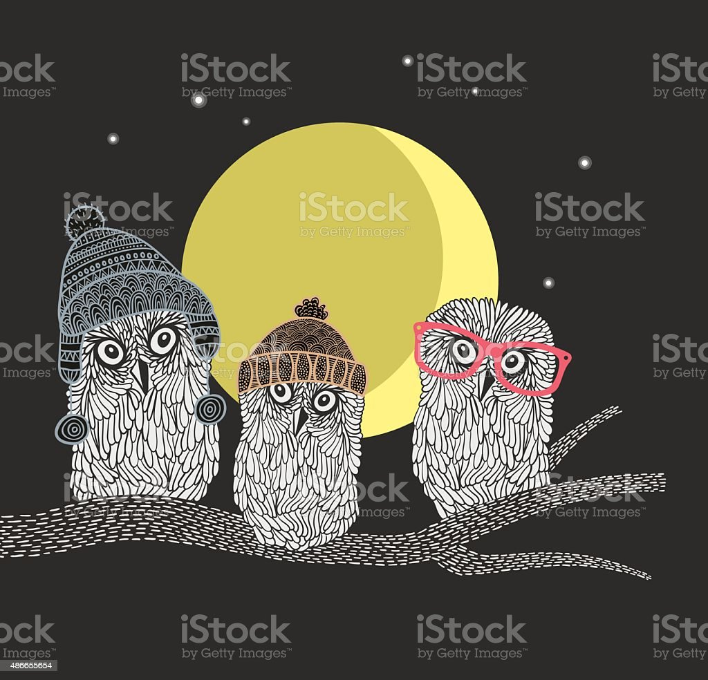 Three owl friends on the tree in the night forest. vector art illustration