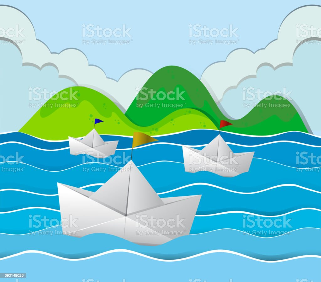 Three paper boats floating in the ocean vector art illustration