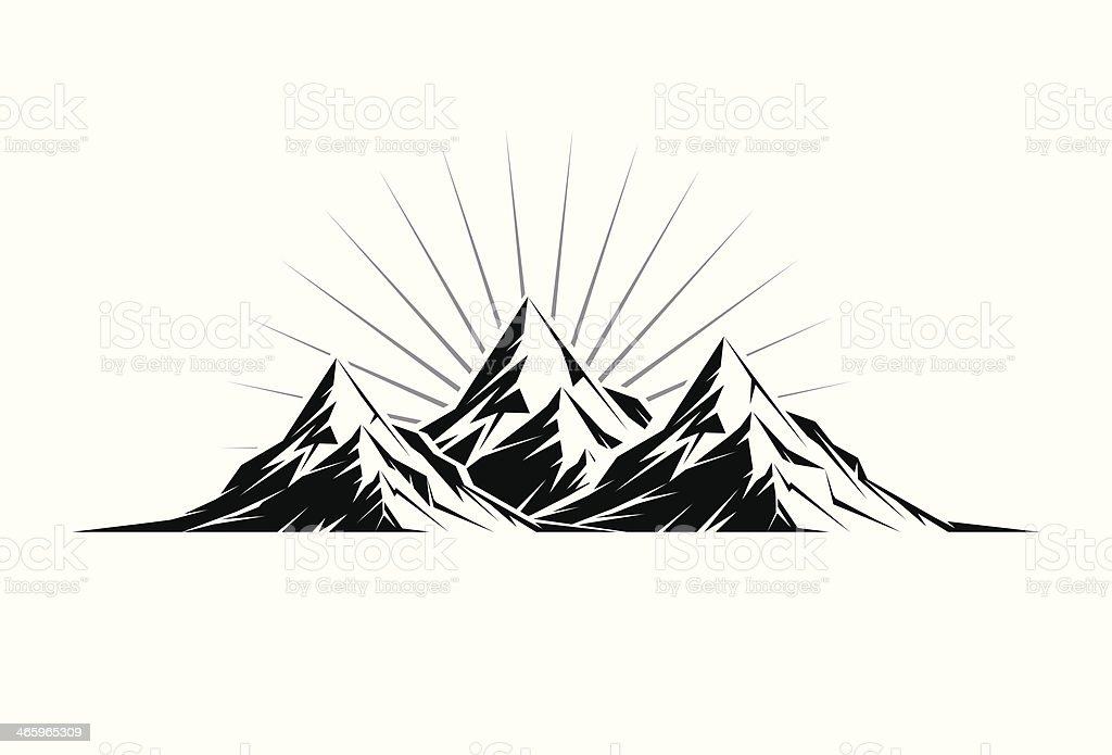Three Peaks vector art illustration