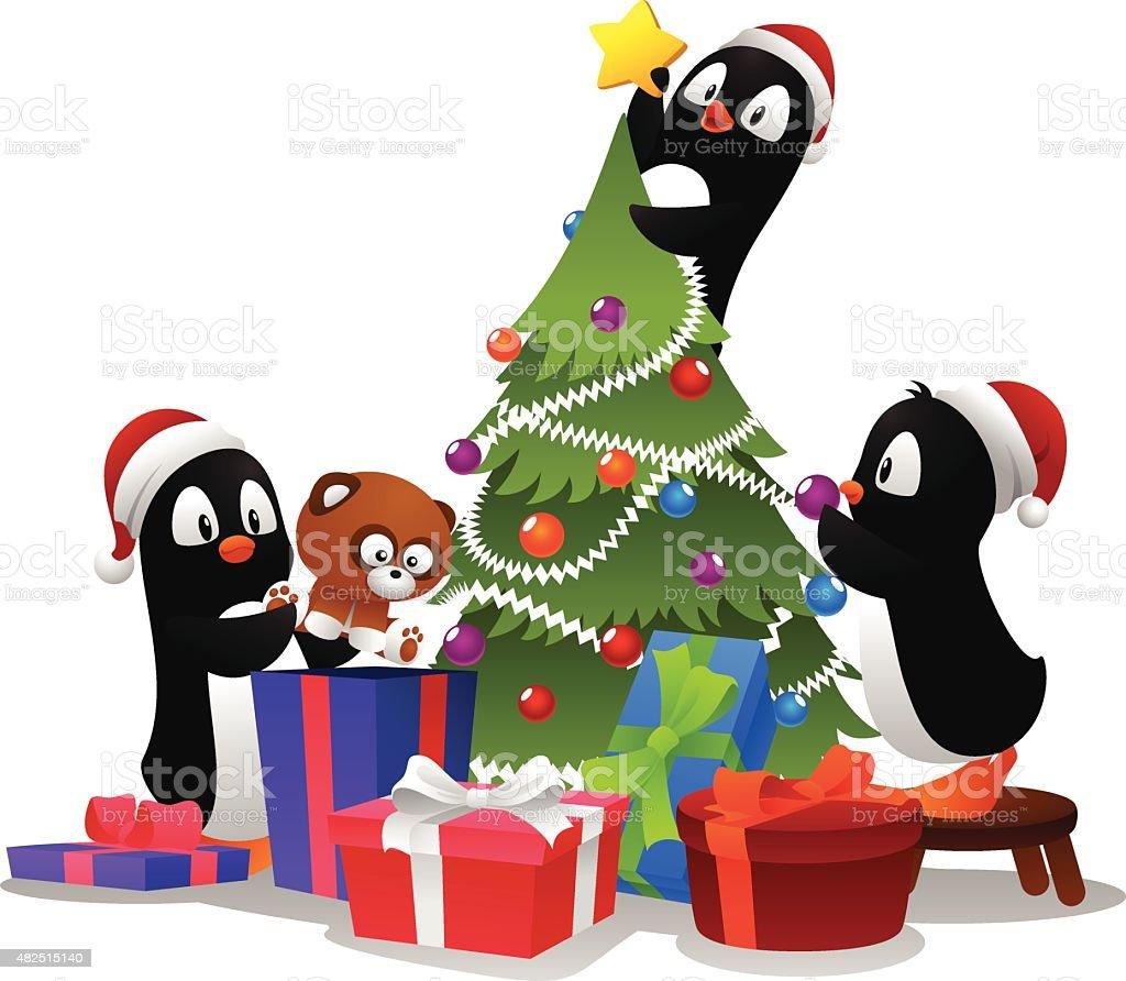 Three penguin having fun vector art illustration