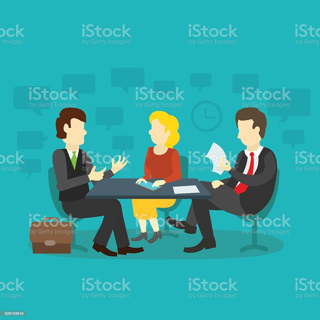 three people at the table interviewing vector art illustration