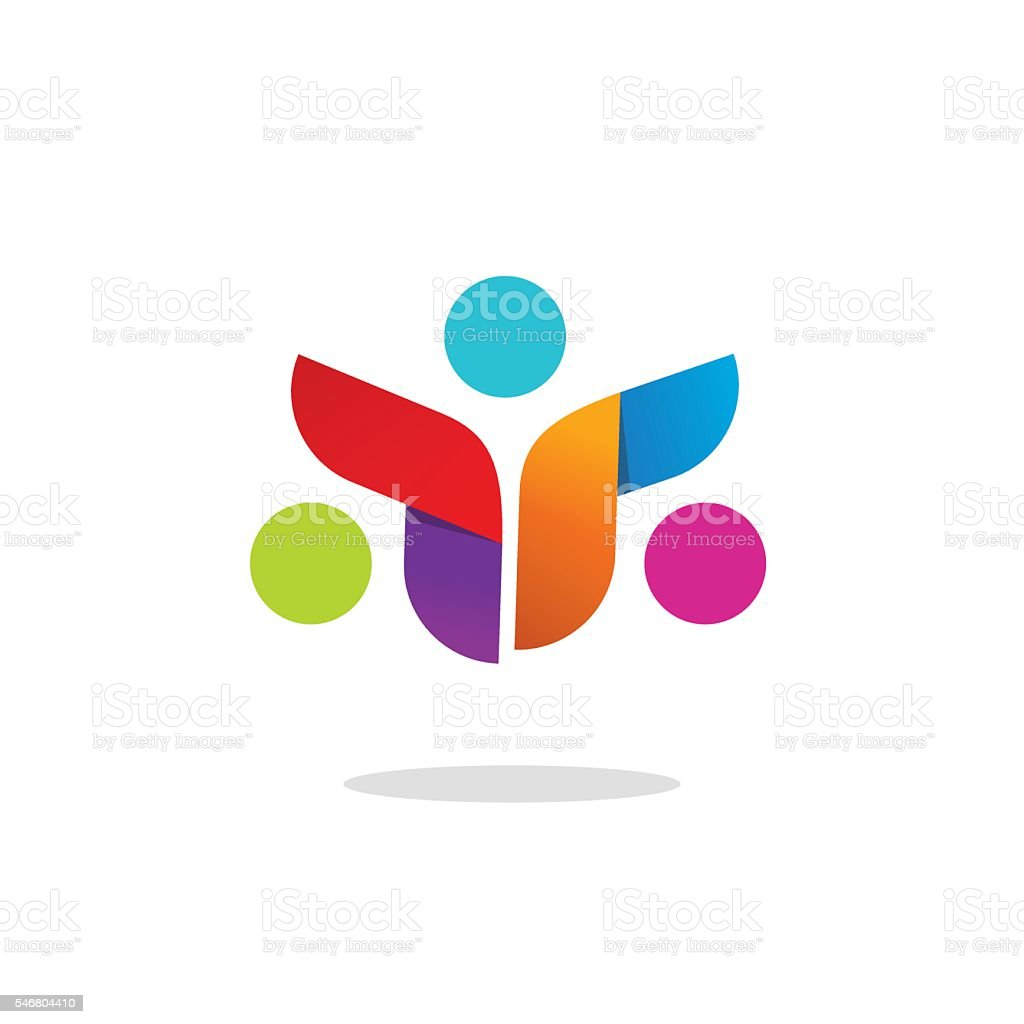 Three people community logo abstract vector symbol, conference logotype vector art illustration