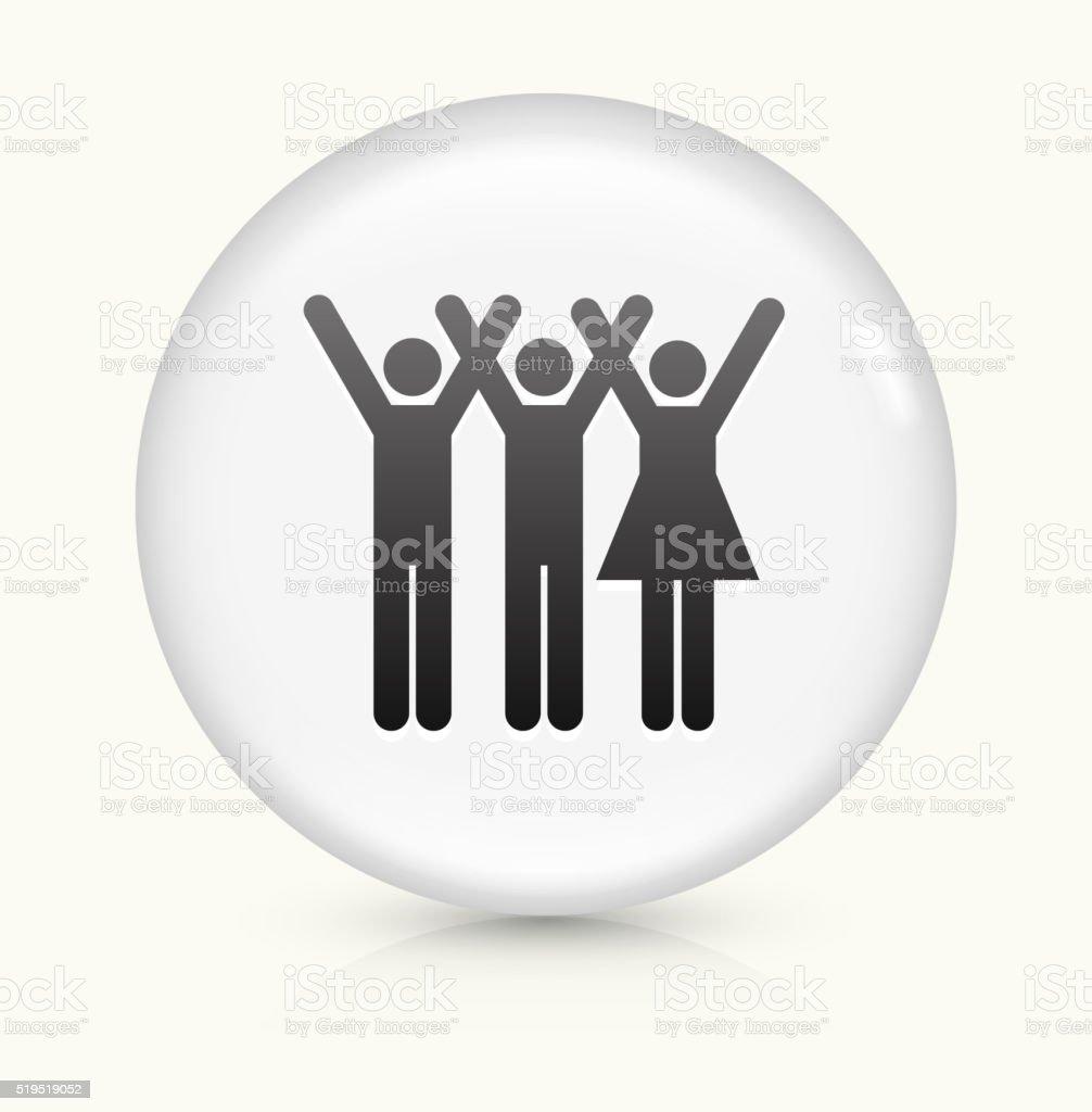 Three People Raising Hands icon on white round vector button vector art illustration