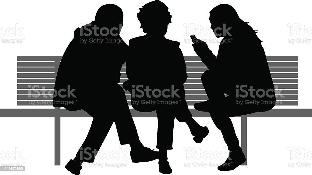Three People Sitting on Bench vector art illustration