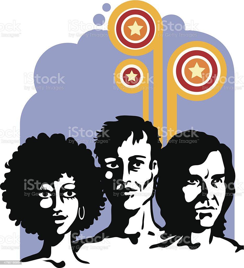Three people royalty-free stock vector art