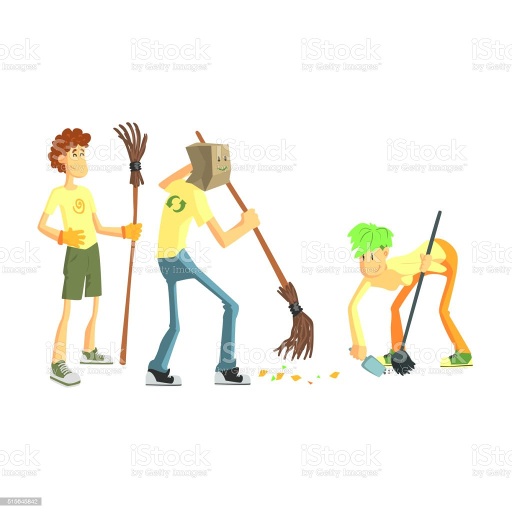 Three Person Collecting Garbage vector art illustration