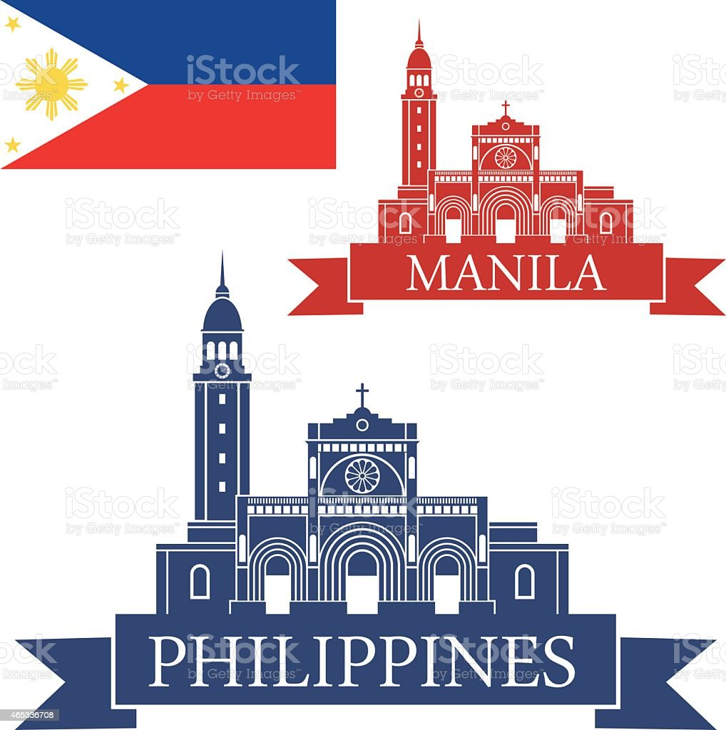 Three pictures representing the Philippines vector art illustration