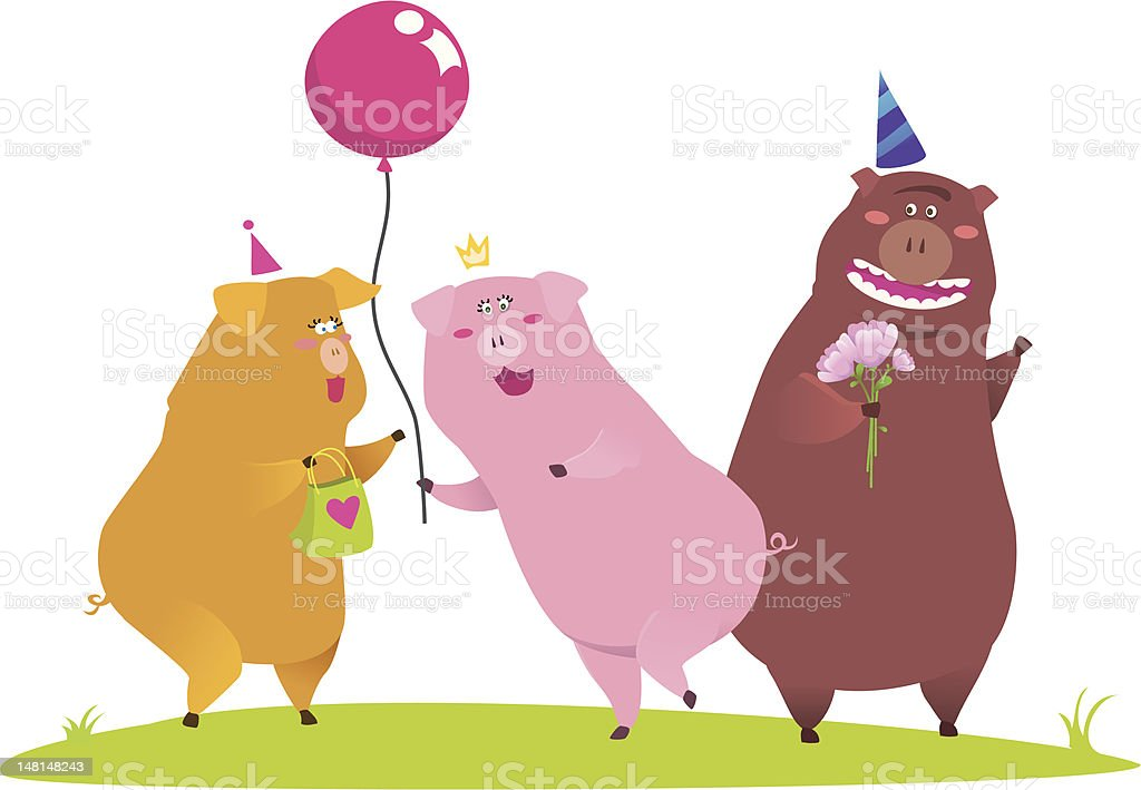 three piglets royalty-free stock vector art