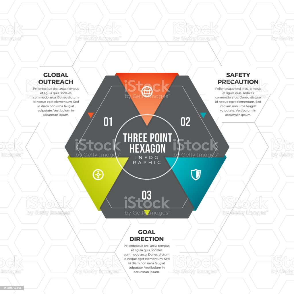 Three Point Hexagon Infographic vector art illustration