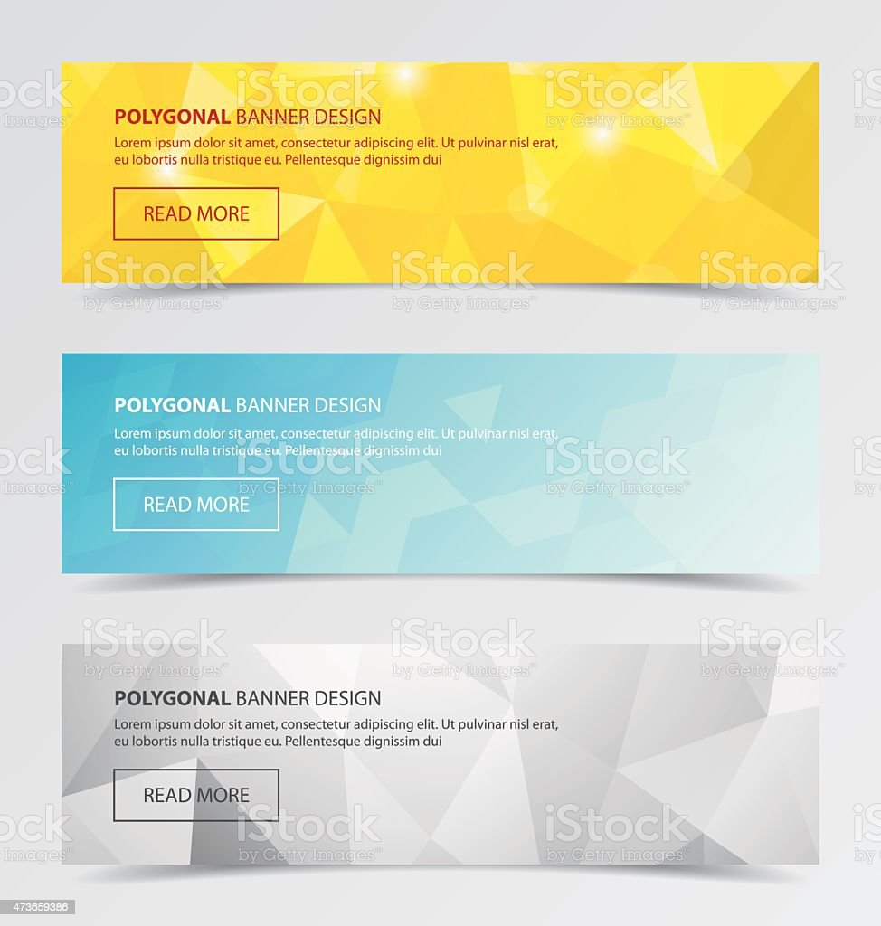 Three polygonal banners with a modern abstract background  vector art illustration