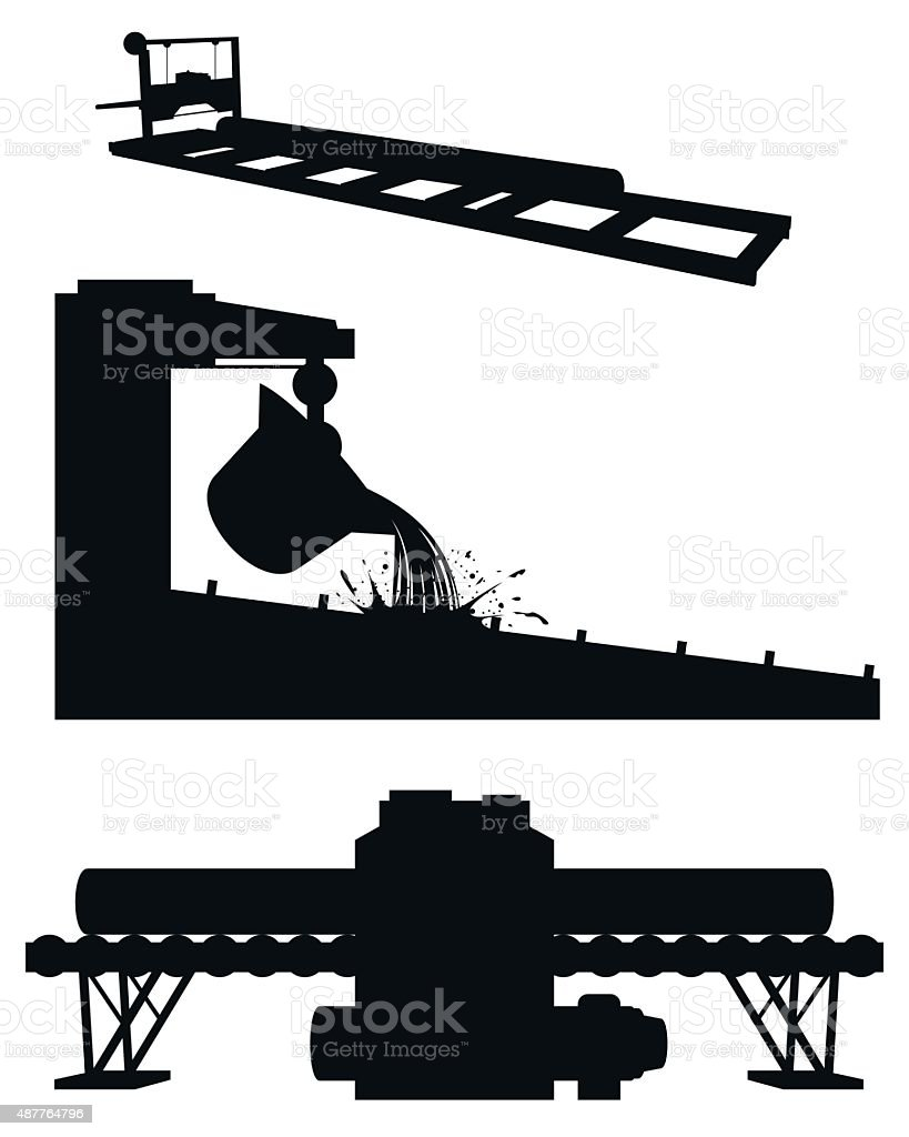 Three productions silhouettes vector art illustration