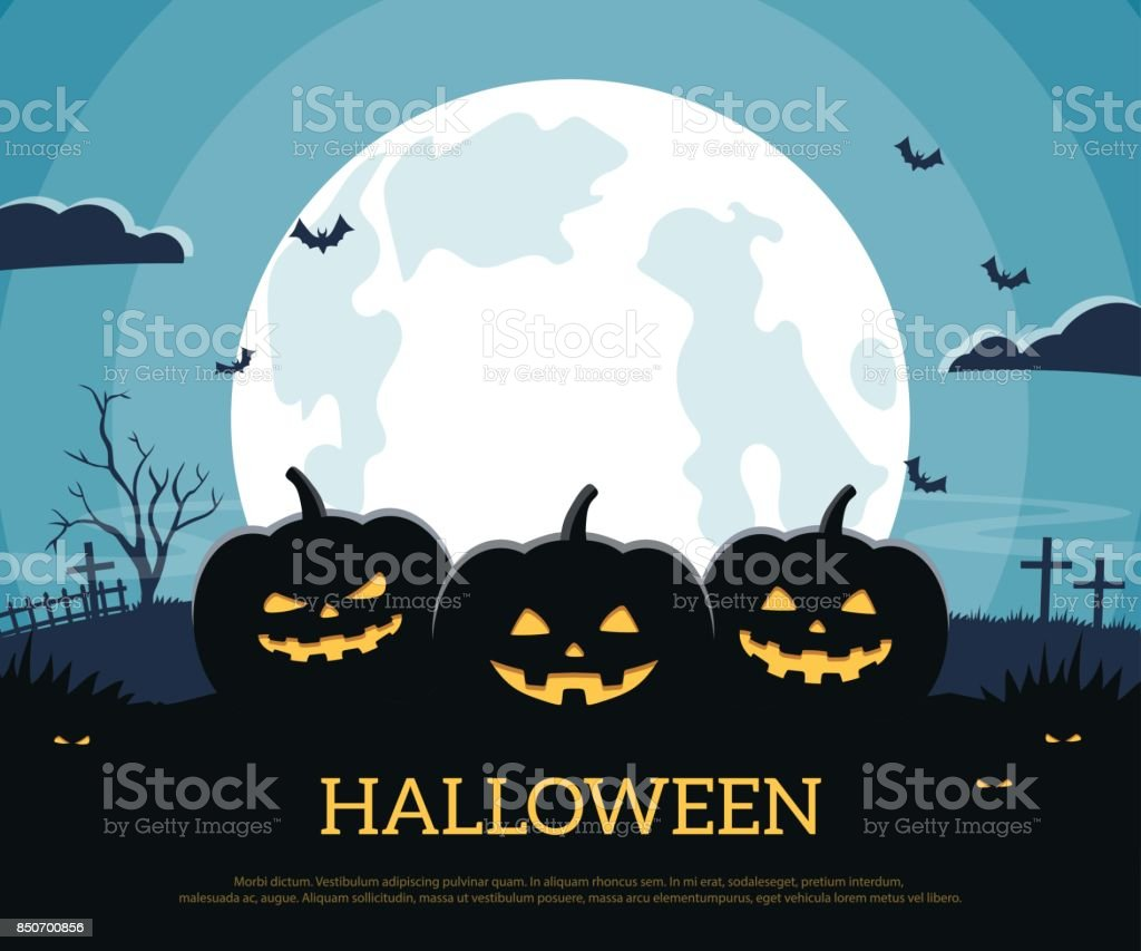 Three pumpkins on the background full moon and graveyard. Halloween background in flat style. vector art illustration
